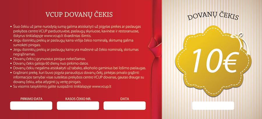 10 eur dovanų čekiai
