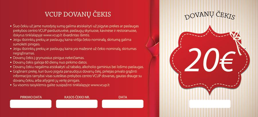20 eur dovanų čekiai